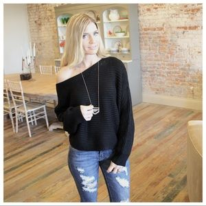Sweaters - Black off shoulder cable knit sweater